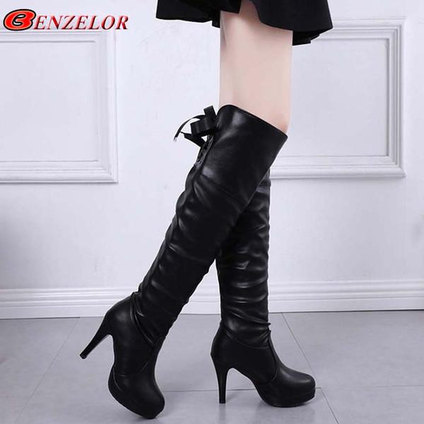 BENZELOR 2018 Otoño Invierno PU Botas hasta la rodilla de cuero Botas de mujer Zapatos de terciopelo Mujer Tacones altos Moda Mujer larga Bota Femme