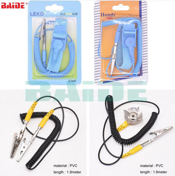 Antistatic Wrist Strap Ground Wire Dual grounding claw Pu Pvc Magic sticker ESD Tool 200pcs /lot