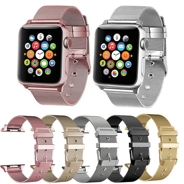 Correa de reloj de acero inoxidable Epacket Milanese Loop Band con conector adaptador para Apple Watch Series 1 2 3 4 iWatch 38mm / 42mm