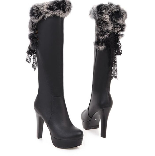 Autumn and winter Posterior frenulum of rabbit hair Sleeve fine heel Super heel Thick bottom round head women Knee Boots