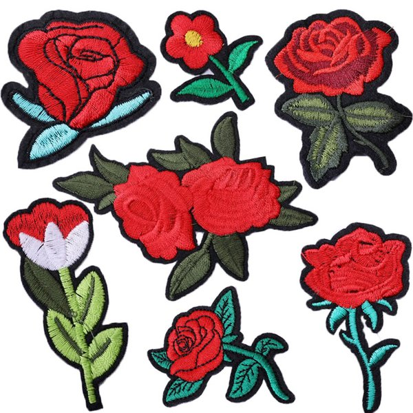 New Arrival Rose Flower Patches Embroidery Applique Clothes Sewing Patch DIY Badge Patch Accessories Shirt Decorative DIY Patches H481Q