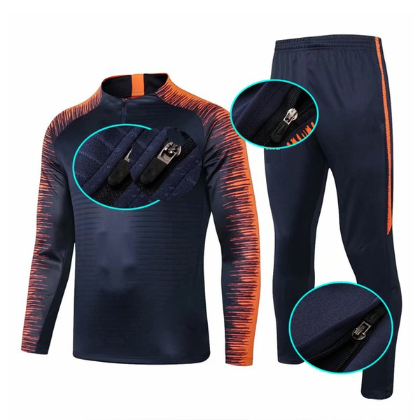 Fußballanzug Jogginganzug Barce Lona 18 19 Neu Warmup Fußballuniform Männer Reißverschluss-Trainingsanzug Fußball-Kit Thai Sportwear