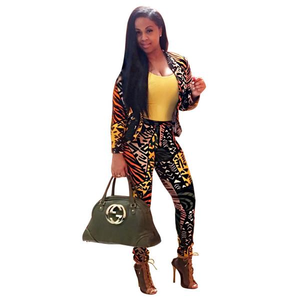 2017 Nova Moda Outono Europeia de Impressão Digital Casual Mulheres Blazer blazer com calças de impressão floral feminino Mulheres Calças Completas conjunto