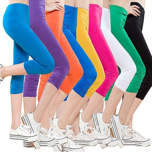 Calça de treino sem mangas Casual Capri Leggings para mulher