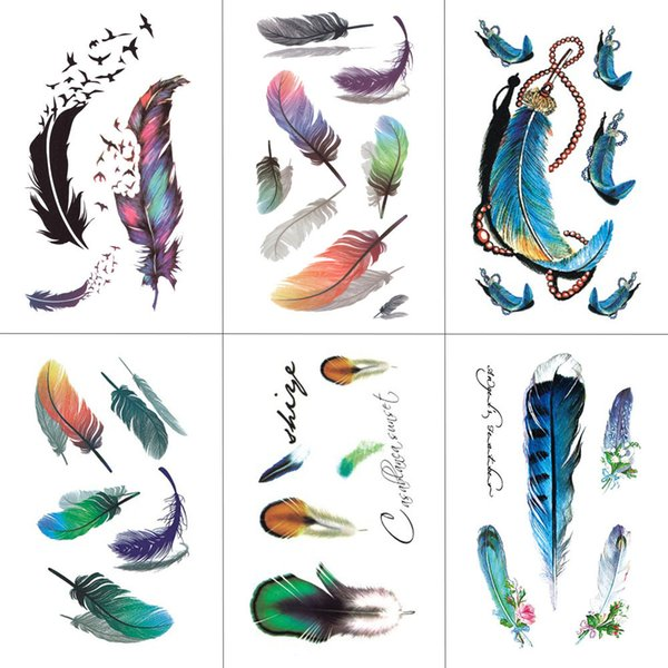 TCOOL Feather Temporary Tattoos Waterproof Women Tattoo Sticker Fashion Fake Body Art Men 10.5X6cm Kids Adult Hand Tatoo B-012