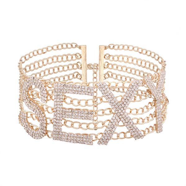 Gargantilla de diamantes de imitación exagerada personalizada letras en inglés SEXY collar moda joyería de las señoras