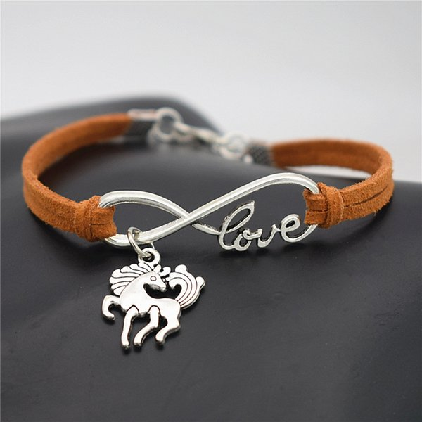 Boho Ethnic Handmade Infinity Love Dancing Horse Bracelet Braid Orange Leather String Cotton Wrap Woven Rope Friendship Jewelry For Women Me