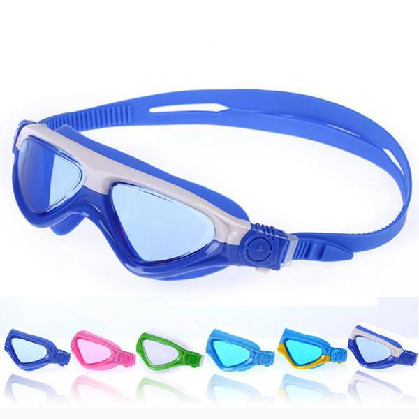 Kids Child Patchwork Swimming Goggles Swim Pool Waterproof Glasses Anti Fog Water Eyewear Swimwear w/ Hard Case & Earplugs