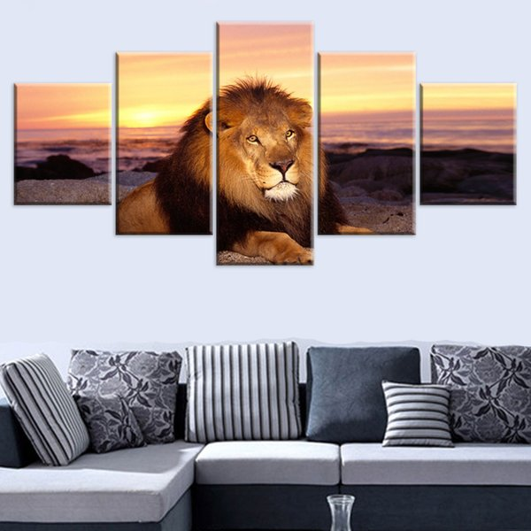 Modular Living Room Wall Art 5 Pieces Animal Lion Poster HD Prints King Of Beasts Pictures Home Canvas Paintings Decor Framework