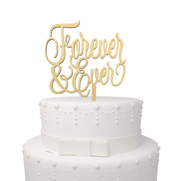 Forever and Love Bridal Shower Wedding Anniversary Decorations Wood Cake Topper