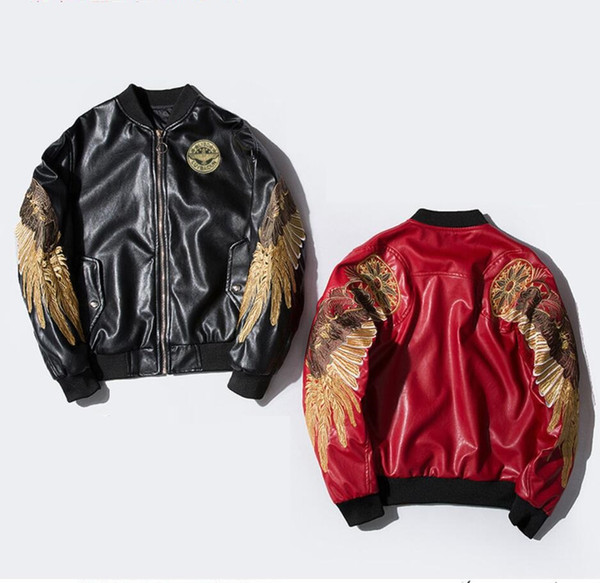 Hot 2018 Leather Jacket Embroidery Gold Wings PU Men's Jacket MA-1 Stand Collar Fashion Outwear Men Coat Bomber Jacket