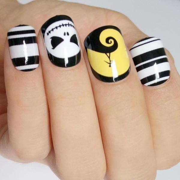 Halloween Thema Gefälschte Nagel Glänzende Schwarz Weiß Streifen Falsche Nägel Tipps Schädel Gesicht DIY Nail art Maniküre Werkzeug