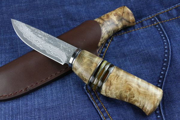 New Survival Straight Knife Damascus Steel Blade Shadow Wood + Horn Handle Fixed Blade Hunting Knives With Leather Sheath