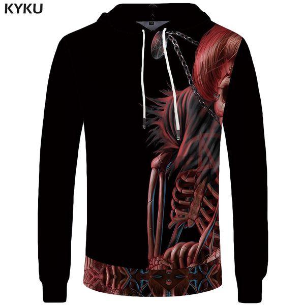 KYKU  Skull Sweatshirt Women Devil Casual Punk Pocket Gothic Large Size Big Sweatshirts Hoodie Long Sleeve sweatshirt 3d