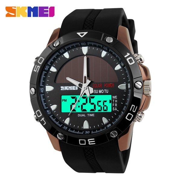 wholesale-2017 new skmei brand solar energy watch digital quartz men sports watches multifunctional outdoor wristwatches 1064, Slivery;brown