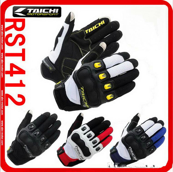 2017 new authentic RS-TAICHI RST-412 Summer short paragraph motorcycle racing gloves carbon fiber motorbike glove can touch 5 colora