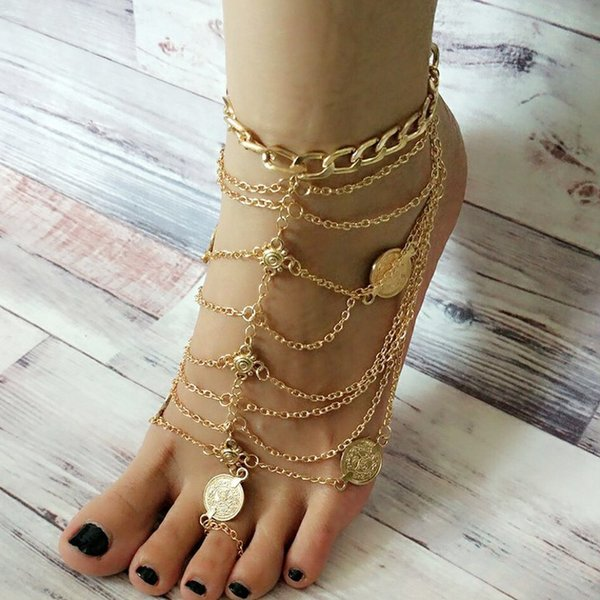 Coin Deco Sandalias Descalzas Estiramiento de la Cadena de Tobillo con Toe Anillo Tobilleras de ModaChain Sandbeach Boda Nupcial Dama de honor Brazalete de Pies Al Por Mayor