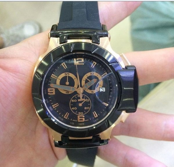 Wholesale - Men's T-Race Black Dial Japan Quartz Working Chrono Yellow Rubber strap Wrist Mens Luxury Watch ts Watches Gift