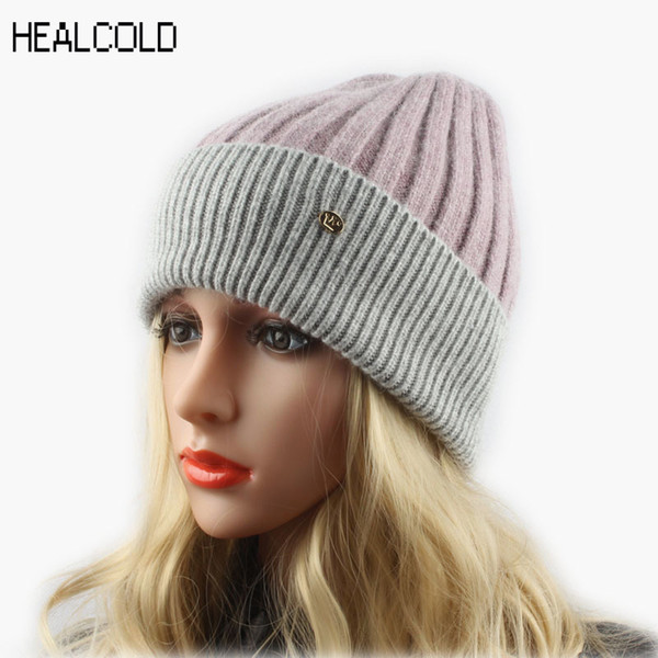 Top Quality Patchwork Knitted Skullies Beanies Ladies Warm Soft Cashmere Wool Beanie Cap Winter Hats For Women D18103006