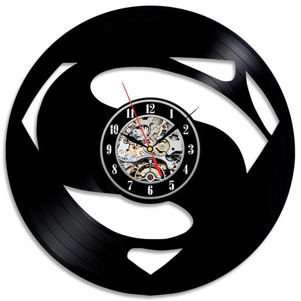 Superman logo personality vinyl wall clock Simple modern home decor crafts creative handmade gifts Decor living room black quartz clock