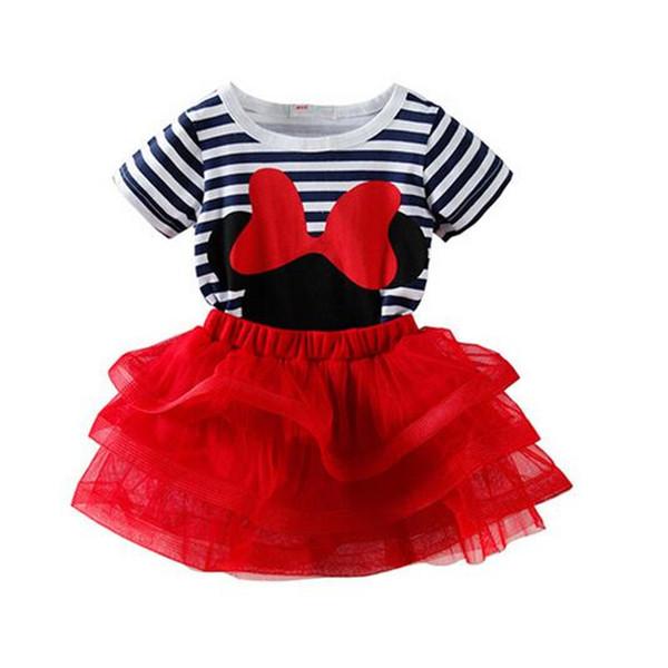 2018 Summer sweet cute cartoon girl bow striped short-sleeved T-shirt + short skirt suit girl tutu suit