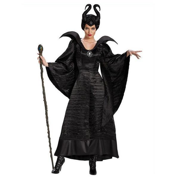 Dark Witch Dress Girls Disfraces de Halloween para adultos Sleeping Queen Cosplay Princess Party Halloween Vestidos de manga larga