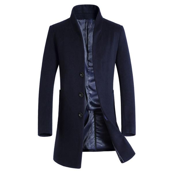 Abrigo de lana largo Hombres 2017 Nueva Llegada Para Hombre Abrigo de Cachemira Marca de Lana Mezclas Pea Chaqueta Hombres Slim Fit Manteau Homme Abrigo