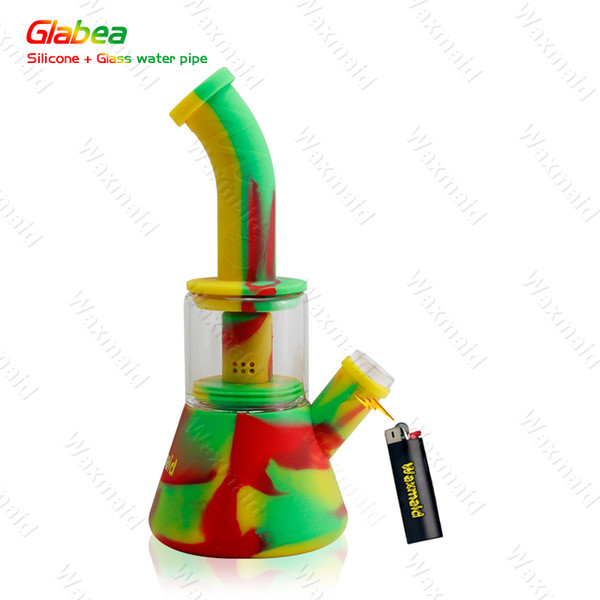 Tubulação de Água de Vidro Tubo de 9 Polegada Waxmaid Pagode Portátil Dab Rig Bong Água de Fumar Mini Dab Rig para Erva Seca Cera Online