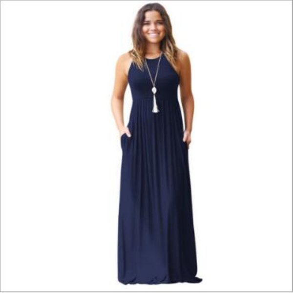 Women's Sleeveless Luxury Fashion Racerback Loose Plain Maxi Dresses Casual Long Dresses with Pockets 8 Colors Optional Plus Size S- 2XL
