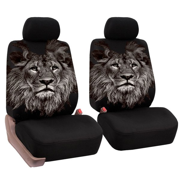 4 pcs/set Washable Car Seat Covers Sandwish Mesh Seat Cover Print Lion Head Universal Car Front Seat Protector