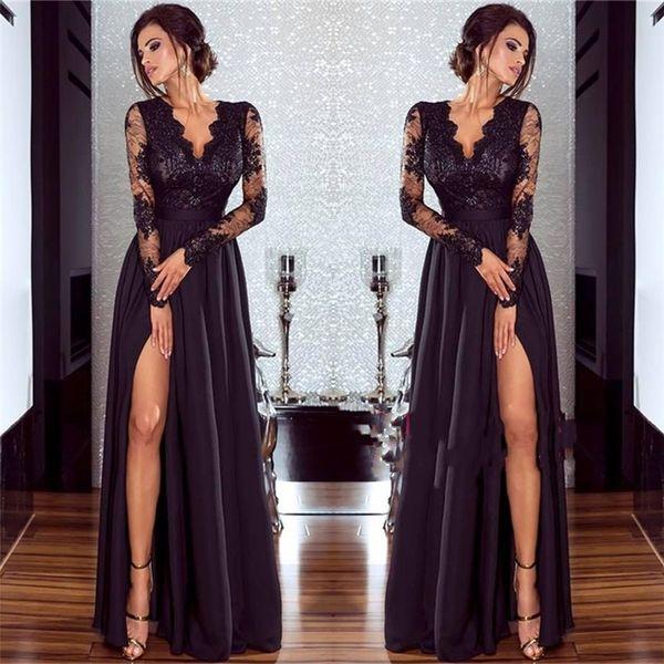Sexy muslo festoneado de alta división de manga larga vestido de noche de gasa barato encaje negro cuello en V vestidos de baile clásico