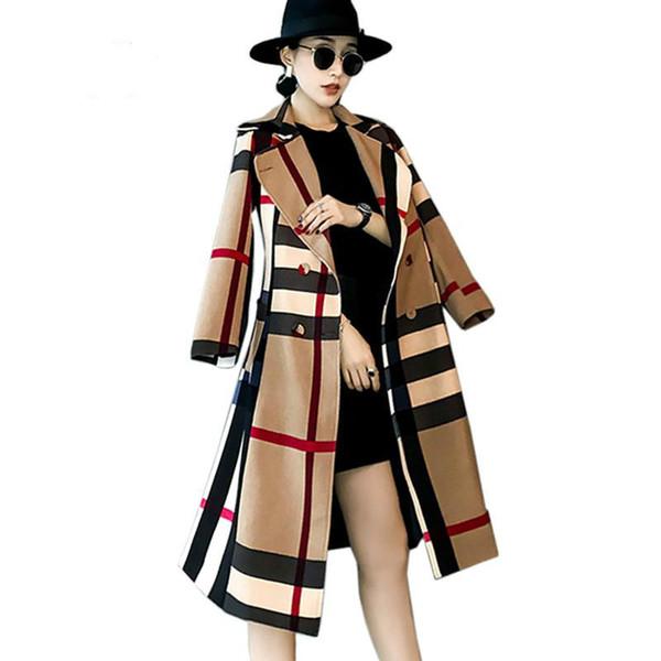 2017 herbst England Stil Rot Schwarz Plaid Zweireiher Mäntel Windjacke Frauen Casual Klassische Patchwork Robe Femme