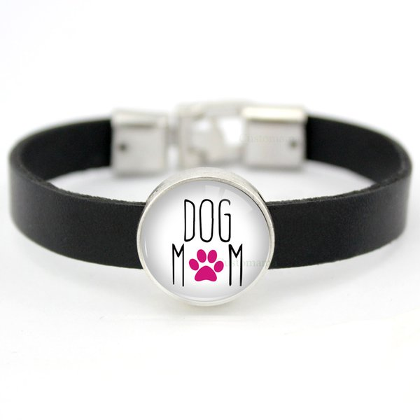 Dogs Cats Mom Horse Animal 18mm Glass Cabochon Leather Charm Bracelets Women Men Boy Girl Unisex Jewelry Many Styles to Choose
