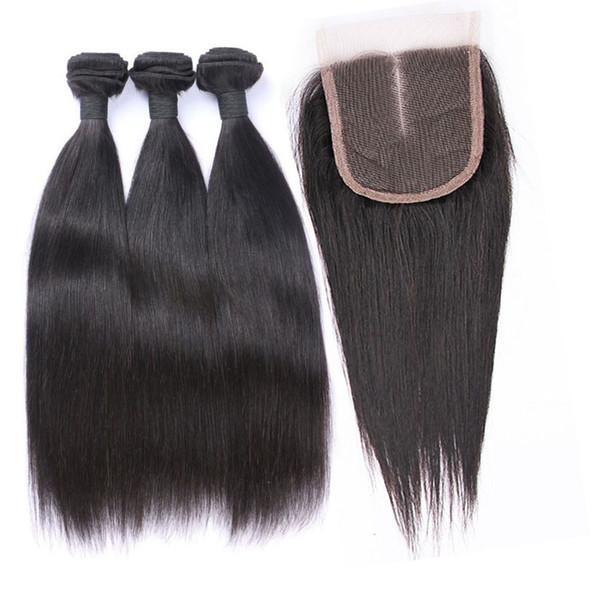 Feixes de cabelo peruano hetero com lace closure 4 pcs não transformados virgem cabelo humano tece cor natural dyeable