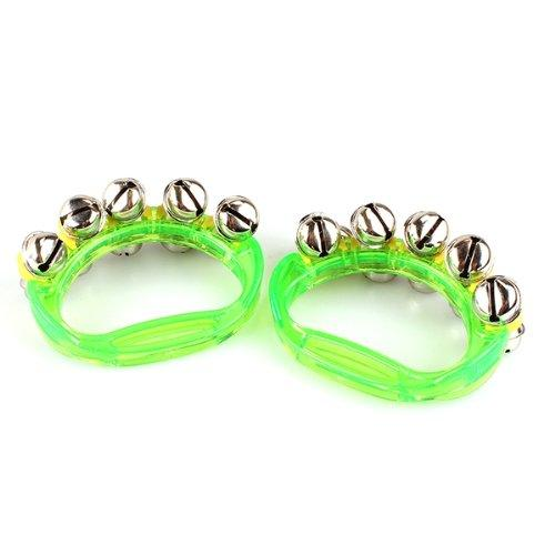 top popular Lot of 2 tambourine Bell Jingle Bell green Percussion Music for child 2020