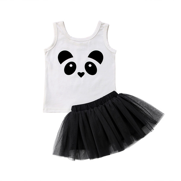 Nette Neugeborene Kleinkind Kinder Baby Mädchen Sommer Kleidung Panda Weste Tops Tutu Tüll Rock Outfits Prinzessin Kinder Kleidung Set