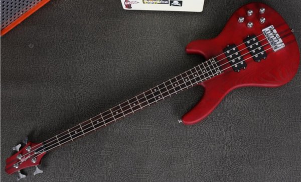 New High quality low price GYNT-0007 Red ASH wood Maple neck through 4 string Active Pickup Bass Guitar, Free shipping