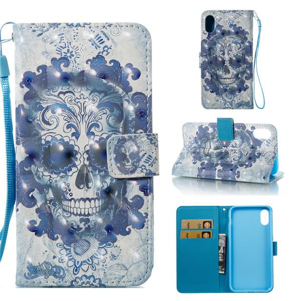 3D бумажник кожаный флип для 2018 новый iPhone 6.1 6.5 дюймов XS 9 8 Плюс Samsung Примечание 8 S9 мультфильм цветы чехол телефон сумка крышка Сова череп