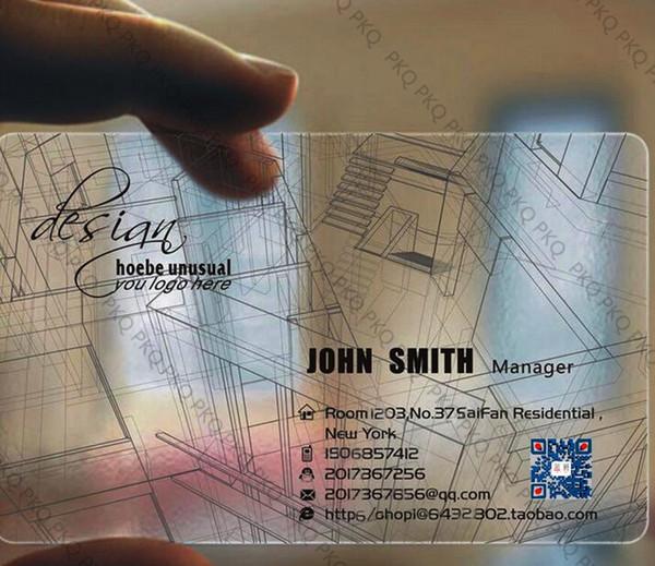 Großhandel 200 Stücke Benutzerdefinierte Visitenkarte Druck Kunststoff Transparent Pvc Namenskarte Kundenspezifische Klar Wasserdicht Vip