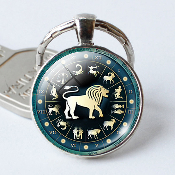 Zodiac Sign Key Rings Round Electroplate 12 Constellation Keys Chain Alloy Glass Jewels Keychain For Men Women