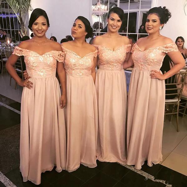 2018 Yeni Varış Şifon Kapalı Omuzlar Bir Çizgi Uzun Gelinlik Modelleri Dantel Aplike Üst Kat Uzunluk Hizmetçi Onur Törenlerinde Düğün Konuk Giymek