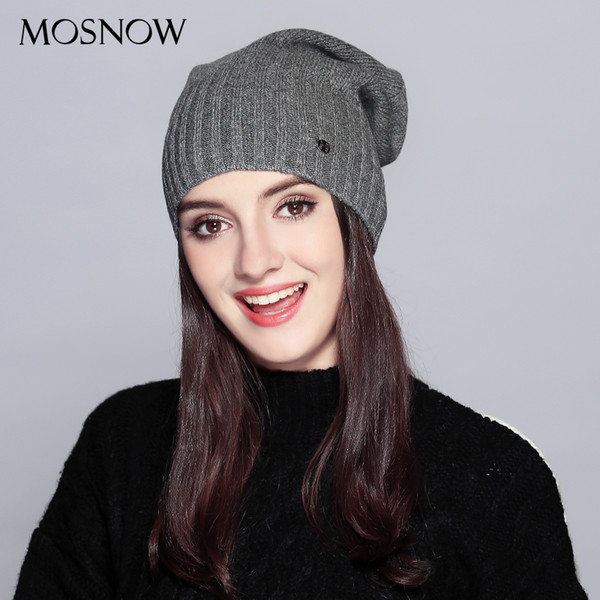 MOSNOW Hat Female Autumn Winter Fashion 2018 Brand New Classic Stripe Solid Knitted Warm Women's Hats Skullies Beanies #MZ738 S1020
