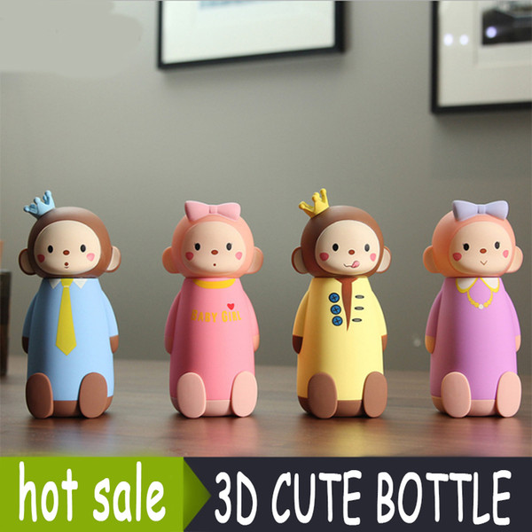 Cute 3D Monkey Style Glass Water Bottle for Children Cartoon Leakproof My Glass Bottle 280ml Four Style Available