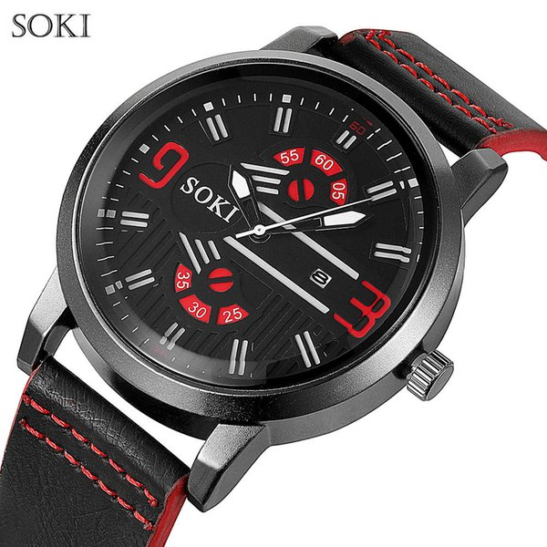 SOKI New Fashion Mens Watches Curren Brand Luxury Leather Quartz Men Watch Casual Sport Clock Male Wristwatch Relogio Masculino