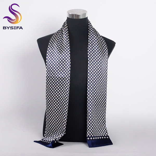 [BYSIFA] Brand Men Silk Scarf Muffler Winter Fashion Accessory 100% Pure Silk Male Plaid Long Scarves Cravat Navy Blue 160*26cm S1020