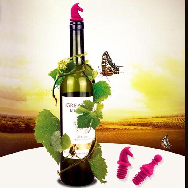 6 pezzi / set creativo progettato champagne vino tappi set in silicone tappo di bottiglia di vino spina vino utensili da cucina bar