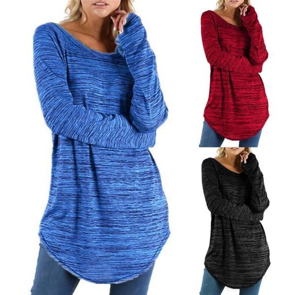 8510214f08e loose t shirt tunic Promo Codes - Plus Size T Shirt Women Long Sleeve Loose  Tops
