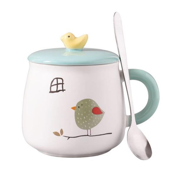 Tasse mignonne d'oiseau 3D, tasse en céramique avec le couvercle et la cuillère