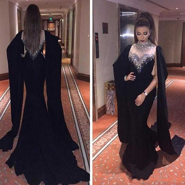 Black Mermaid Arabic Evening Dresses High Neck Beaded Crystals Sheer Neck Shawl Sleeves Floor Length Formal Evening Gowns Middle East Saudi
