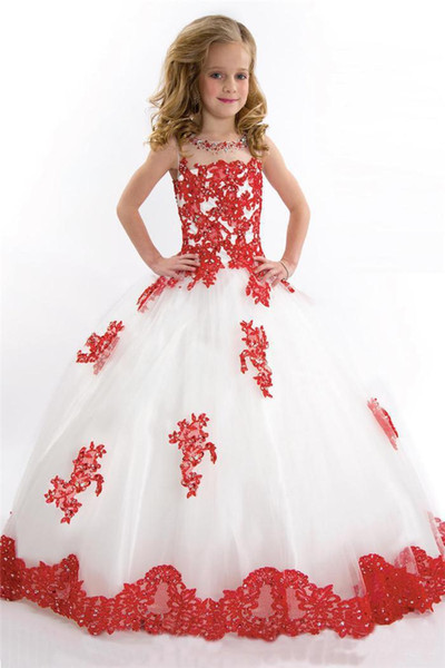 Cute White and Red Girl's Pageant Dress Princess Ball Gown Tulle Party Cupcake Pretty Little Kids Queen Flower Girl Birthday Party Dress